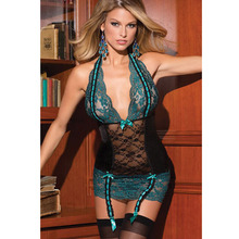 Buy Leechee ST966 Women sexy lingerie Lenceria Sex Lace Babydoll Perspective Dress+Garther Embroidery Erotic underwear Porn costumes