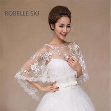 1d35718df37 Elegant Ivory Red Bridal Lace Jacket Bolero Crystal Cape Low Front Long  Back Women Shrug Shawls Wedding Accessories One Size