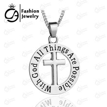 Wholesale With god all things are possible Matthew 19:26 necklace Religious Catechism Gift CrossNecklace 20Pcs/Lot #LN1234(China)