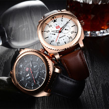 Hot Guote Rose Gold Dial Leather Sport Watches Fashion Men Boy Casual Quartz Wristwatch 2016 Luxury Man Gift Clock Water proof