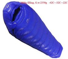 Goose down 2000g Filling -42C~-22C! Ultra-light down outdoor goose down outdoor adult breathable thickening sleeping bag(China)