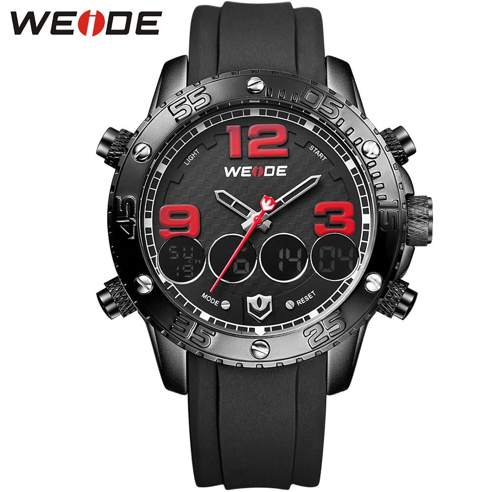 WEIDE Men Luxury Famous Brand Wristwatches PU Belt Mens Quartz Analog Digital Auto Date Buckle Alarm Stopwatch Display<br>