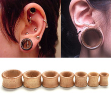 1 Pc Body Jewelry Hollow Plug Piercing Ear Expander Natural Wooden Plugs Gauges Flesh Ear Tunnels