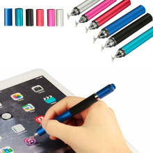 New 2 in 1 Stylus Pen Metal Ballpoint Drawing Capacitive Touch Screen Stylus Ballpoint Pen For iPad Tablet Laptop 6 Colors(China)