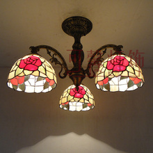 3 Head European Romantic decoration red rose dining room tiffany chandelier bedroom light cafe light AC90-265V free shipping