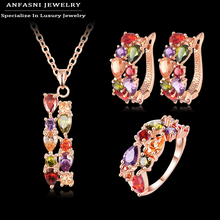 ANFASNI Newest Beautiful Fashion Set Rose Golden Color Charming Mutil color Zirconia Women Necklace/Earring/Ring Set CST0030-A