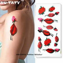 Nu-TATY 3d Temporary Flash Tattoo Body Art Tatoo Sticker Sexy Lips 1 sheet 19*9cm For Selfie EN71 High Quality FREE SHIPPING(China)
