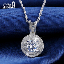 Effie Queen 1.25 CT Heats and Arrows Cut Zircon Pendant Necklace Silver Color Necklace for Women Wedding and Engagement DN87