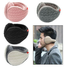 Foldable Unisex Fashion Knitted EarMuffs Plus Velvet Winter Warm EarMuff Women Men Knitted Ear Muffs Adult Knitted Earmuffs(China)