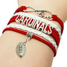 Infinity Love Cardinals Baseball Team Bracelets Leather Suede Rope Charm Customize Friendship Wristband Women Bangle