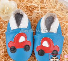 kids Cars leather shoes soft leather baby shoes red car blue shoes
