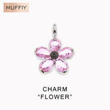 Pink Flower Charm,Thomas Style Charm Club Good Jewelry For Women,Ts Gift In 925 Sterling Silver Fit Bag Bracelet,Super Deal