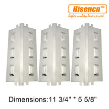 Hisencn 94631 3pcs/pk BBQ Stainless Steel Heat Plate Replacement for Charbroil, Kenmore, Thermos, etc Gas Grill Models