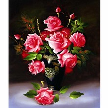5D Diamond painting cross stitch diamond embroidery home decoration Pink rose Round stone diamond mosaic knitting needles flower