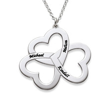 Hot Sale Custom Name Triple Heart Necklace Choker 2016 New Arrival Love Family Name Collares Silver Plated Personalized Necklace