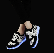 shoes for adults men men's casual man footwear walking Sneakers Summer LED USB charging lights up shoe Free Drop shipping(China)