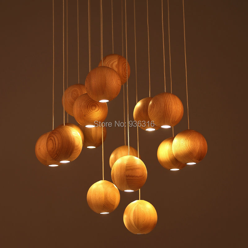 single head solid wood chandelier Chinese Japanese Nordic creative minimalist living room dining room wooden lamp<br>