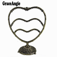 1PCS 300*240mm Antique Bronze Iron Heart Shape Earrings Necklace Charms Display Jewelry Stand Holder 58Holes(China)
