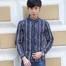 High Quality Men's Shirts Slim Fit Fashion Male Clothing Casual Camisa Masculina Striped Suit Shirt Plus Size M~3XL French Shirt