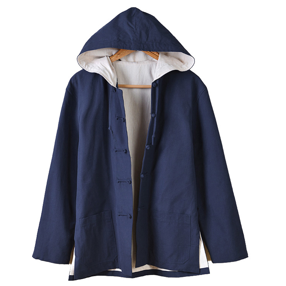 2017 New Cotton Linen Hooded Tang Suit Coat Chinese Traditional Hoodies Cloak Lay Costume Kungfu Coat for Men<br><br>Aliexpress