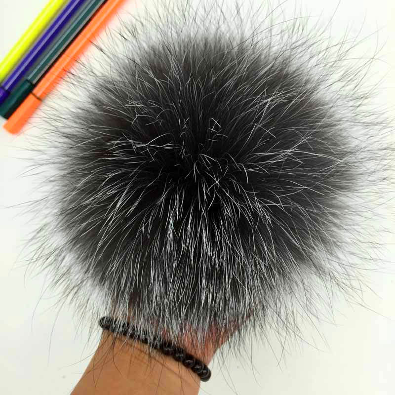 silver fox fur pompom 1 -