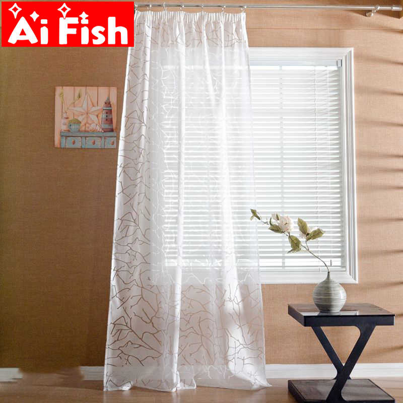 Modern Style Simple Creative Transparent Crack Sheer Drapes White Gauze Curtian For Living Room Door Curtain Tulle  MY035-30