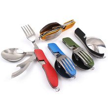 3-in-1 Portable Stainless Steel Foldable Fork Knife Kit Eco-friendly Outdoor Survival Travel Camping Tools 4 Color