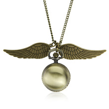Drop Shipping Elegant Harry Golden Ball Pocket Watch Potter Wings Quartz Watch With Sweater Necklace Chain steampunk Watches(China)