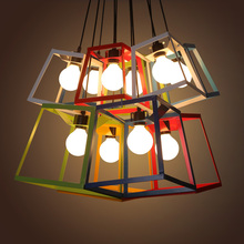 Retro Industrial iron cube box frame led pendant Light creative Modern Minimalist Geometric Simple light for dinning room bar(China)