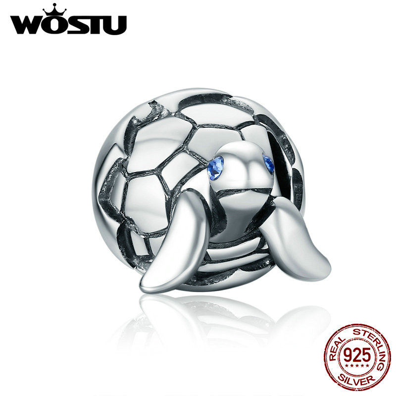 WOSTU Original Design 925 Sterling Silver Newborn Turtle Beads Fit pandora Charm Bracelet Fine DIY Jewelry Gift CQC192