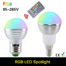 2016 New RGB LED Bulb E27 E14 3W LED Lamp Light Led Spotlight Spot light Bulb 16 Color Change Dimmable Lampada led 110v 220v(China)