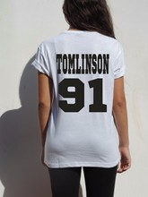 Free Shipping One Direction Directioner pop rock 1D Tee Women Basic  tops Tomlinson 91 Louis Tomlinson t shirt