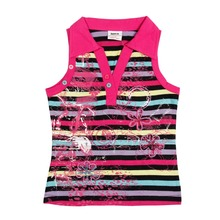 Nova kids clothes retail 2015 new arrival high popularity stylish design high quality cheap sale girls stripe  vest