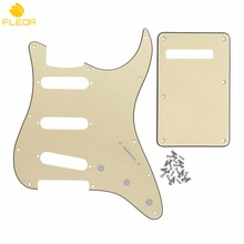 FLEOR Guitar Pickguard Scratch Plate SSS & Back Plate Tremolo Cover Set for FD Strat Style Guitar ,Cream 3Ply(China)
