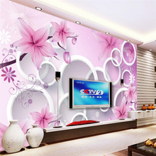 beibehang Flowers 3D Circle TV Walls Custom papel de parede 3D Wall Paper roll Wall Covering Bedroom TV Background contact paper