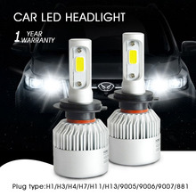 Auto Car Light H7 Led H4 H1 H3 H8 H11 H13 9005 9006 9007 881 LED Headlights 6500K 72W 8000LM COB Chip Automobiles Part Lamp Bulb