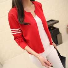 2017 new spring Korean knit jacket sweater shawl cardigan small three stripes thin female cardigan(China)