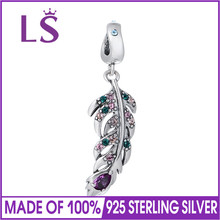 LS Pure 925 Sterling Silver Crystal Feather Charm Pendant DIY Necklace Snake Chain Bracelet for Jewelry Making