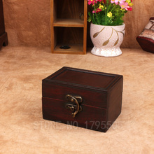 Mini Jewelry retro metal storage wooden box Chinese antique wooden jewelry management retro container Handmade organization