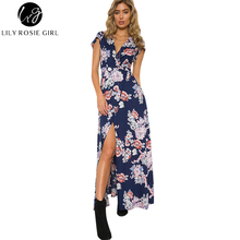 Lily Rosie Girl Women 2017 Navy Deep V-neck Boho Summer Beach Party Dress Floral Short Sleeve Sexy Print Maxi Dresses Vestidos