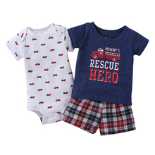 2018 Real Sale Cotton Children Babies Baby Summer Clothes Shit, Games (+ Short + Monkey Suit) 3 Set, Whale Patter Worsted