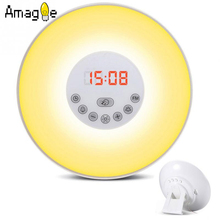 Digital Night Light Led Alarm Clock FM Radio Natural Sound Wake Up Alarm Snooze Sleep Function Red Time Display Touch Control