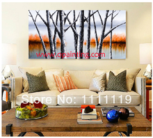 Handmade Picture On Canvas Birch Forest Landscape Oil Painting For Room Wall Art Tree Paintings For Wall Decor Hang Painting(China)