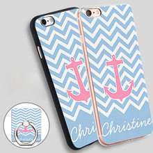 trendy red anchor blue chevron fashion monogram Ring Holder Soft TPU Silicone Case Cover for iPhone 4 4S 5C 5 SE 5S 6 6S 7 Plus
