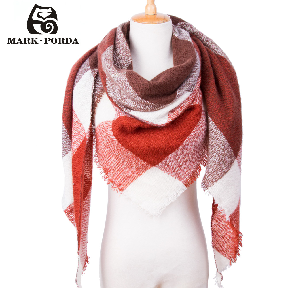 34Colors Winter Scarf For Women Scarf Cashmere Warm Plaid Pashmina Scarf Brand Blanket Wraps Female Scarves And Shawls MP051(China)