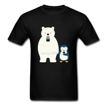 Men Tshirts Top Designing White Short Sleeve Custom Tee Shirt For Men Bear & Penguin Eat Ice Cream In Winter Teenage Clothing