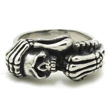 2017 Cool Mens Band Skull Ring 316L Stainless Steel Cool Demon The Death Skull Ring Top Quality(China)