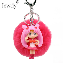 Buy Sailor Moon 2018 Pompom Dolly Keychains Fake Rabbit fur key chain clef pompom de fourrure fluffy Bunny Keyring Bag Car Charm for $2.09 in AliExpress store