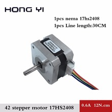 Best price and Quality 17HS2408 4-lead Nema17 Stepper Motor 42 motor 42BYGH 0.6A CE ROSH ISO CNC Laser and 3D printer(China)