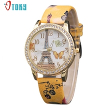 Relogio Feminino Crystals Gold Bezel Women Watches Fashion Butterfly Tower PU Leather Quartz Wrist Watch Creative Mar25